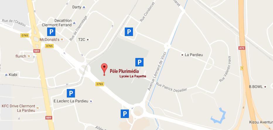 Plan d'accès au Pôle Plurimédia du lycée La Fayette à Clermont-Ferrand